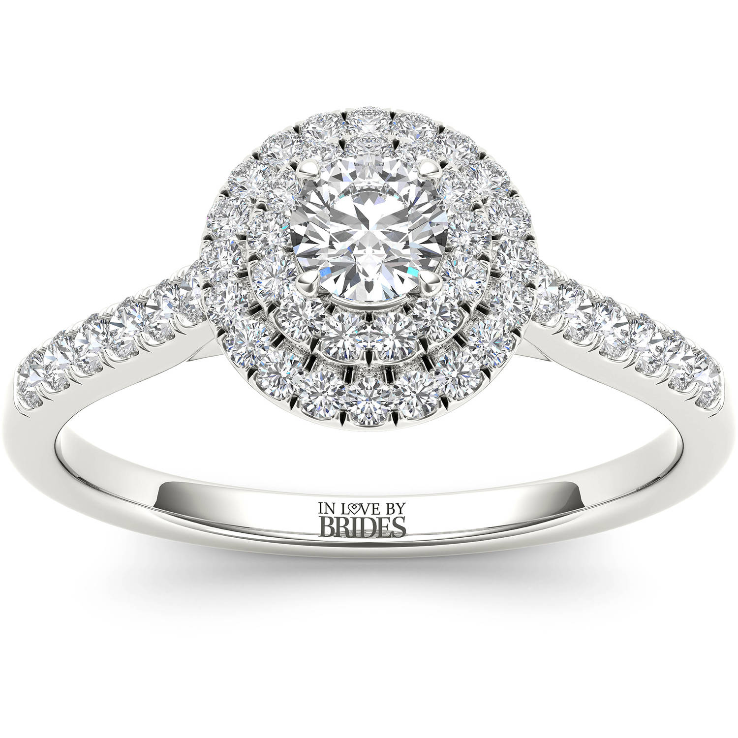IN LOVE BY BRIDES 1/2 Carat T.W. Certified Diamond Classic Halo 14kt White Gold Engagement Ring