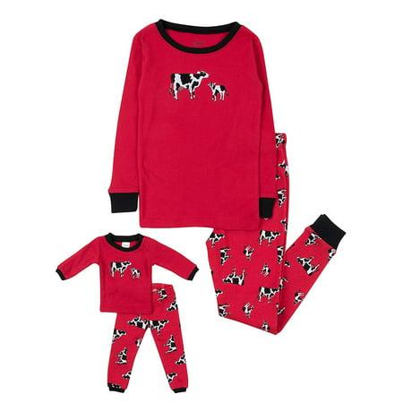 Leveret Kids & Toddler Pajamas Matching Doll & Girls Pajamas 100% Cotton Christmas Pjs Set (Cow,Size 4 Toddler)