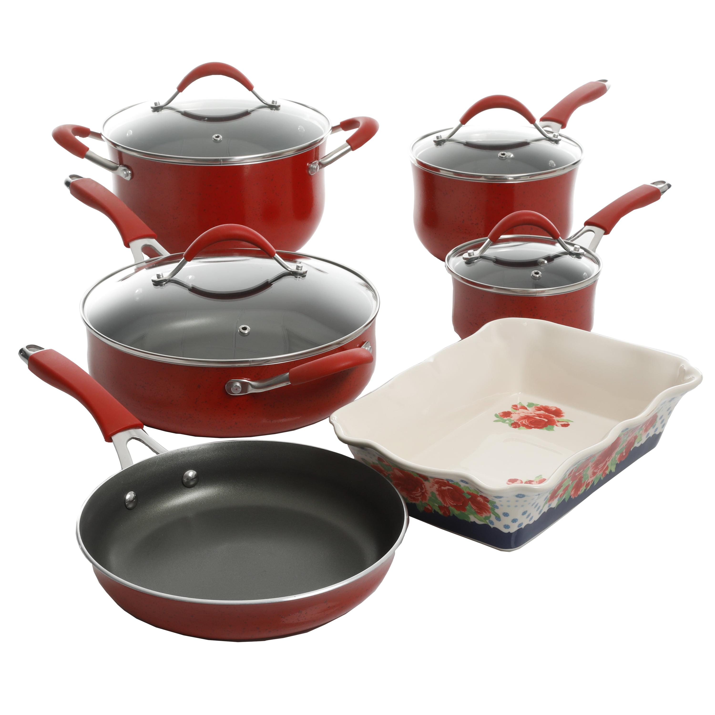 The Pioneer Woman Frontier Speckle 10-Piece Nonstick Cookware Set, Red
