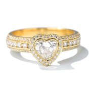 1 Carat Heart Shape Real Diamond Halo Engagement Ring in 10k Yellow Gold