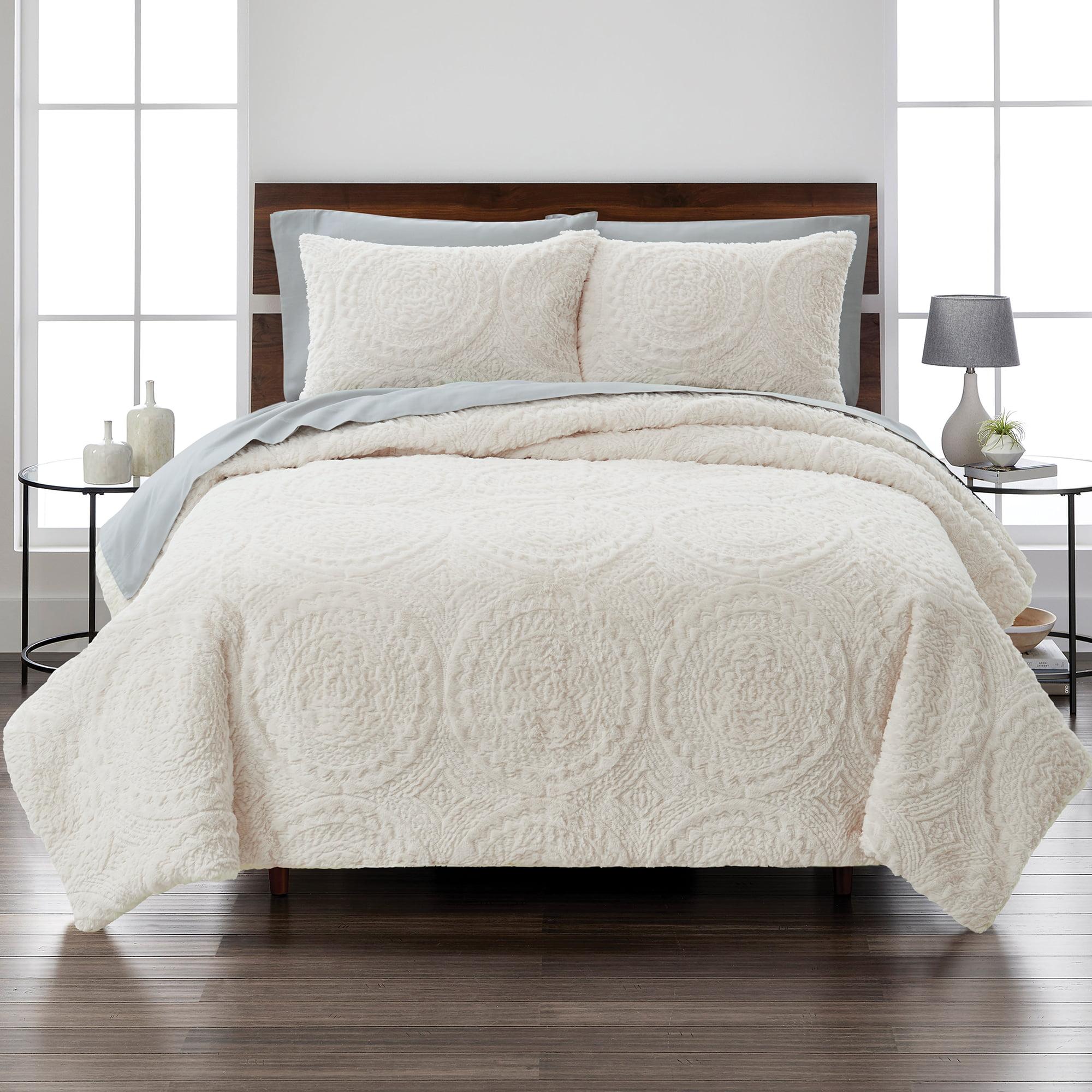 Better Homes Gardens Embroidered Faux Fur 3 Piece Comforter Set Full Queen Ivory Walmart Com Walmart Com