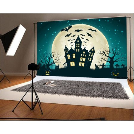 HelloDecor Polyster 7x5ft Happy Halloween Photo Backdrops Castle Bats Moon Night Photo Booth Props for - Halloween Props For Photo Booth
