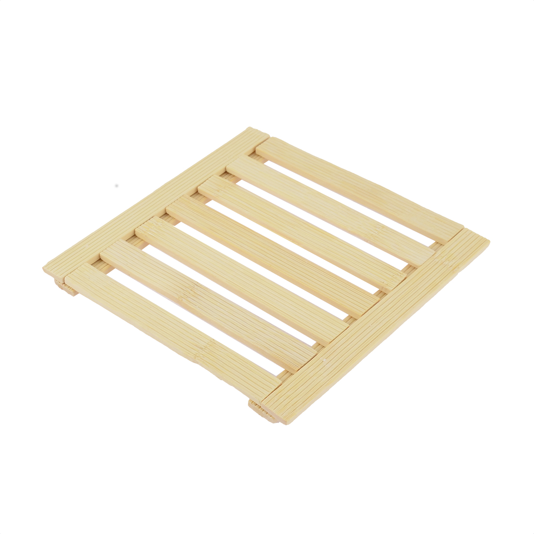 Home Kitchen Table Cup Dishes Bamboo Square Insulation Mat 17 x 17cm