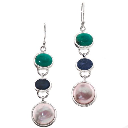 (Opal Freshwater Coin Cultured Pearl Turquoise 925 Sterling Silver Earrings, 1 5/8