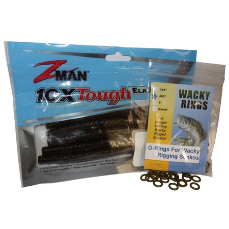 Wacky Rings + Z-Man Zinkerz - O-Rings for Wacky Rigging Senko Worms (100pk Green Pumpkin Orings + 6pk Zinkerz)