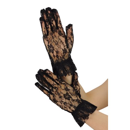 NYFASHION101 Solid Color Classy Elegant Formal Wrist Ruffle Length Lace Gloves, Black - Black Lace Gloves