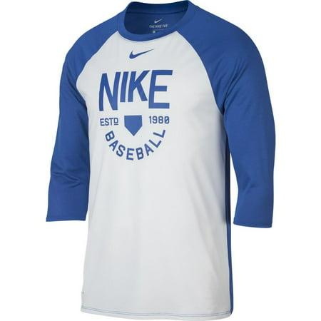 666bb222 Nike - Nike Men's Dry 3/4 Sleeve Baseball Shirt 878682-100 White/Royal -  Walmart.com