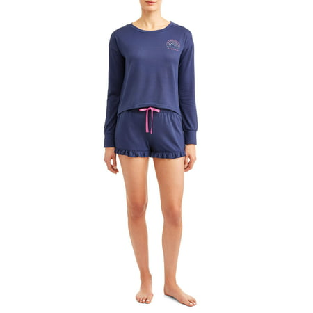 JV Apparel Women's and Women's Plus 2-Piece Popover and Short Sleep Set