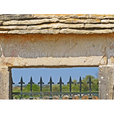 Gate and Key Stone Carved with Montrachet, Domaine Leflaive, Grand Cru Vineyard, Bourgogne, France Print Wall Art By Per Karlsson