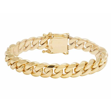 14K Men's Solid Yellow Gold Miami Cuban Link Bracelet 11.5MM-8 in.