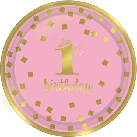 1st Birthday 'Pink and Gold' Small Paper Plates