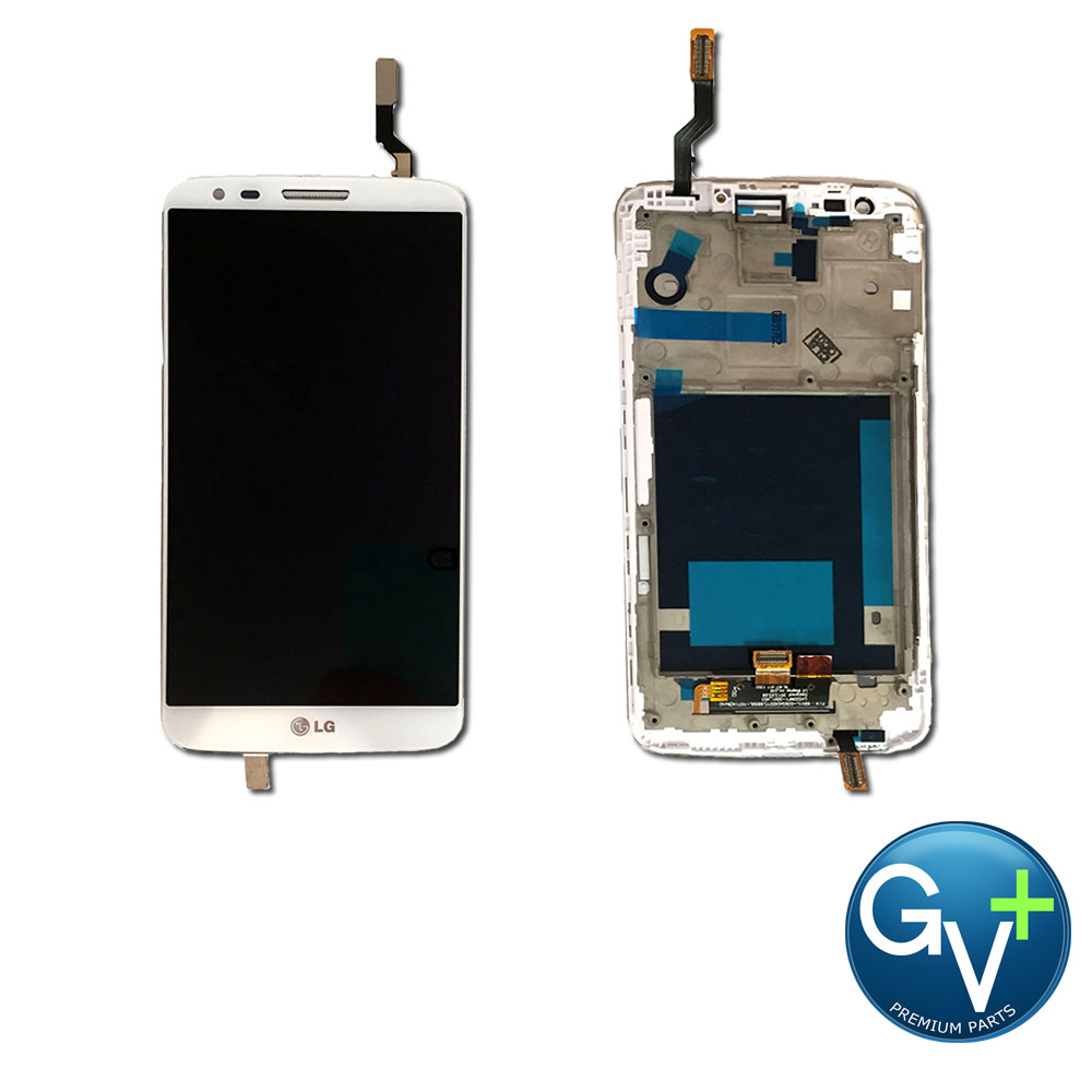 OEM Touch Screen Digitizer and LCD with Frame for LG G2 - White (D800, D801. LS980)