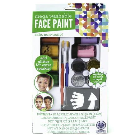 Cheetah Face Paint For Halloween (Kids Craft Face Paint Mega Set by Horizon Group)
