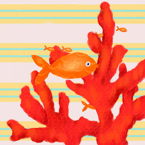 Oopsy Daisy's Red Coral and Little Fish Canvas Wall Art, 10x10