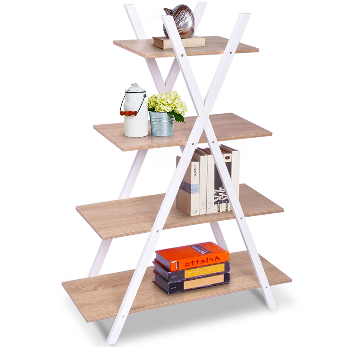 Costway Bookshelf Shelves X-Shape 4 Tier Ladder Storage Bookcase Display Home Office