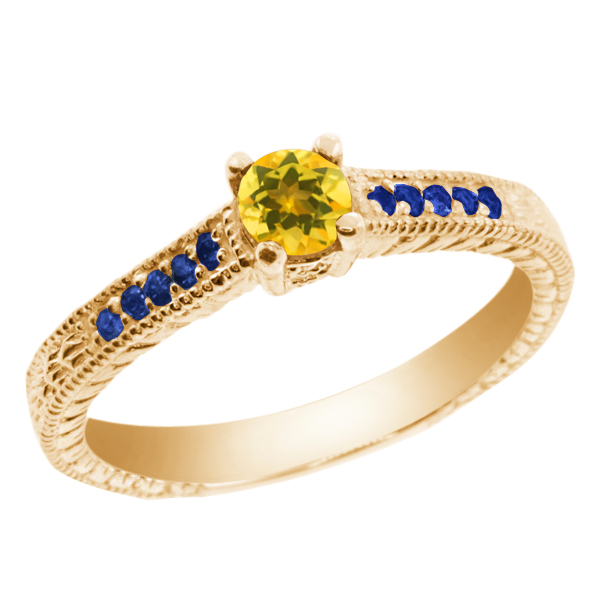 0.35 Ct Round Yellow Citrine Blue Sapphire 925 Yellow Gold Plated Silver Ring