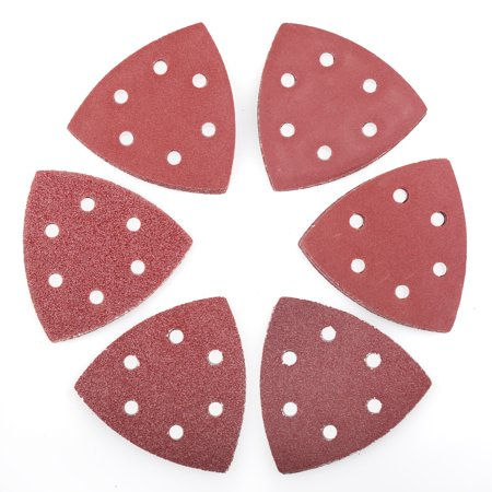 - LotFancy 60 PCS Hook and Loop Triangle Sandpaper Sanding Pads Sheets , 6-Hole, Assorted 40 60 80 120 180 240 Grits
