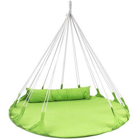 Sorbus Hanging Swing Nest with Pillow, Double Hammock Daybed Saucer Style Lounger Swing, Perfect for Patio, Backyard,