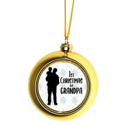 Ornaments Baby Ornament 1st Christmas as Grandpa Argyle Ball Ornaments Gold