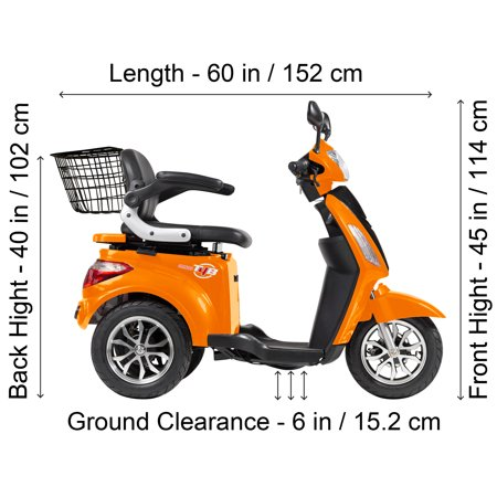 T4B LU-500W Mobility Electric Recreational Outdoors Scooter 48V20AH with Three Speeds, 14/22/32kmph - Orange - image 11 de 14