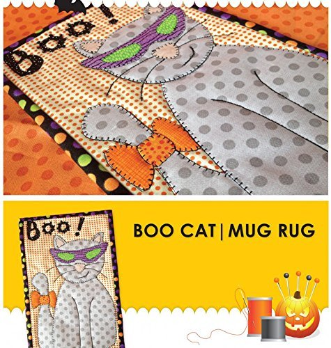 Boo Cat Mug Rug Pre-Cut Applique Kit, Sewing Kit , Sewing Quilt Kit