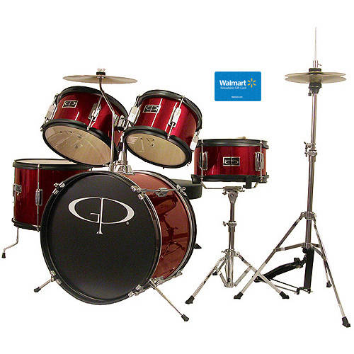 GP Percussion 5-Piece Junior Drum Set, Red with $15 Giftcard