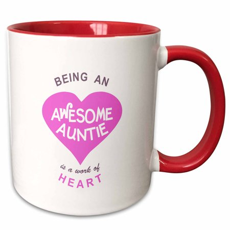3dRose Being an Awesome Auntie is a work of Heart - pink family love saying - Two Tone Red Mug, 11-ounce - Awesome Halloween Sayings