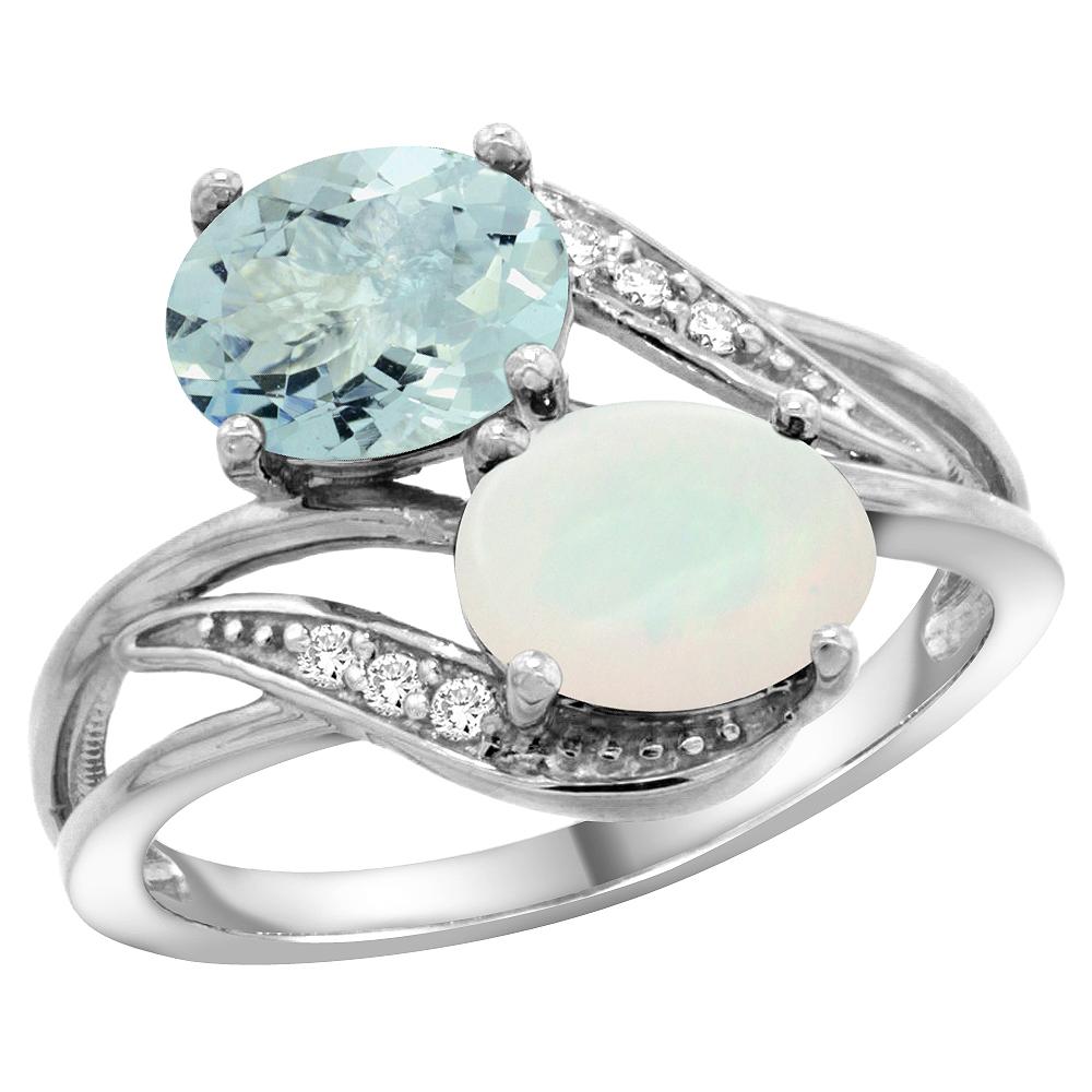 10K White Gold Diamond Natural Aquamarine & Opal 2-stone Ring Oval 8x6mm, sizes 5 10 by WorldJewels