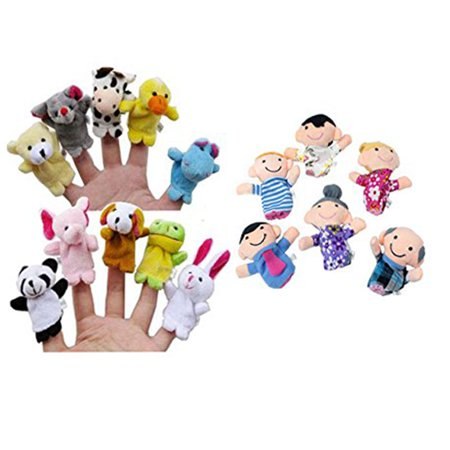 16PC Finger Puppets Animals People Family Members Educational Toy Big Mouth Animal Puppets