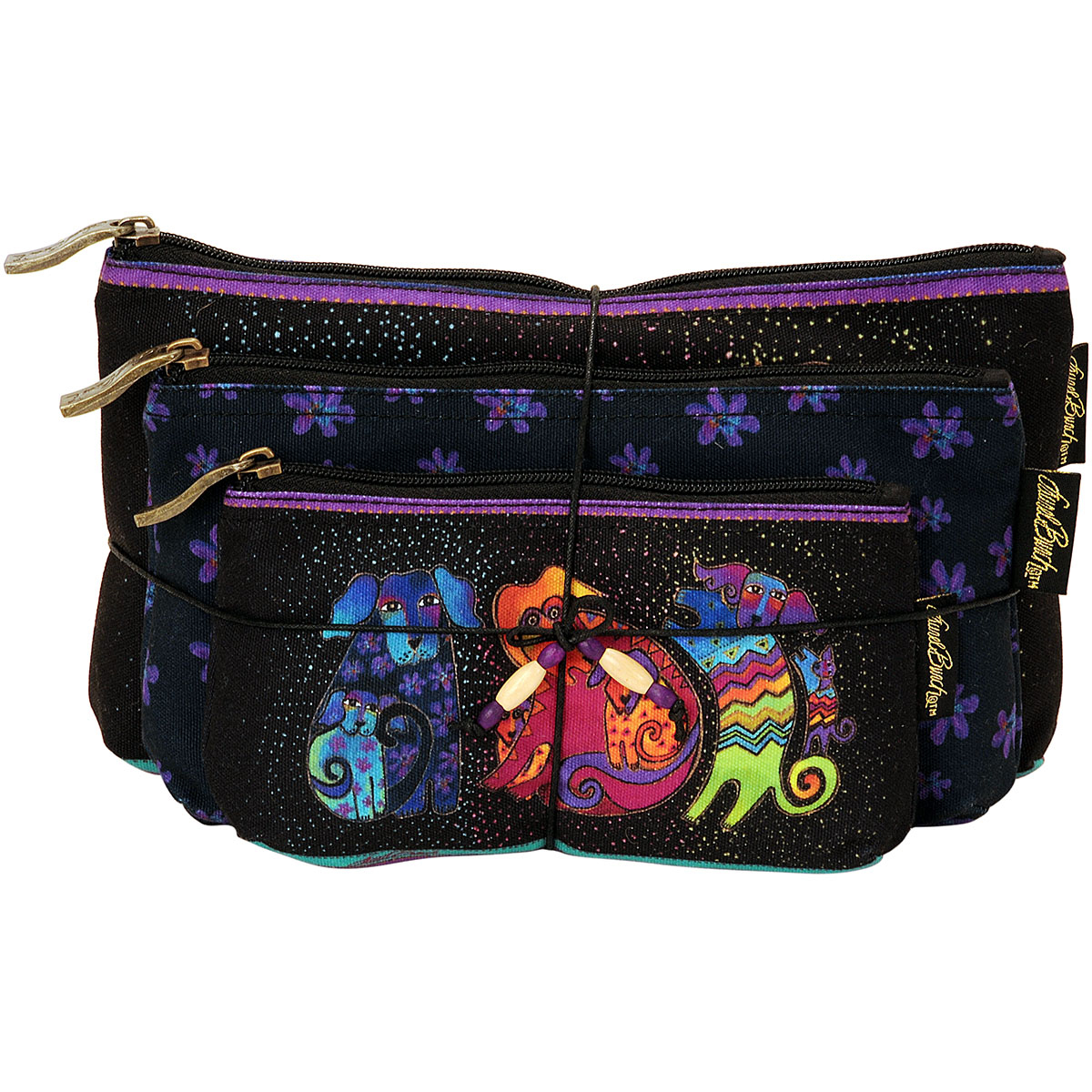 Laurel Burch Cosmetic Bags 3/Pkg-Dogs & Doggies - image 1 of 1