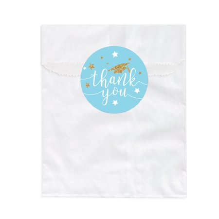 Baby Blue and Gold Glittering Graduation Party, Favor Bag DIY Party Favors Kit, Graduation Thank You!, 24-Pack (Diy Graduation Party Favors)