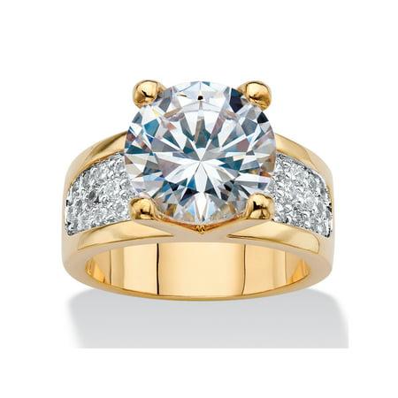 - Round Cubic Zirconia Bridge Engagement Ring 6.96 TCW 14k Gold-Plated