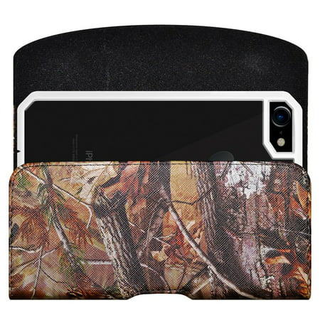 Alcatel onetouch Pixi Avion A571C 4G LTE Horizontal PU Leather Camo Rugged Heavy Duty Extended Holster Pouch Case with Belt Clip Fits Otterbox Commuter Defender UAG Ballistic Armor Dual Layer ()