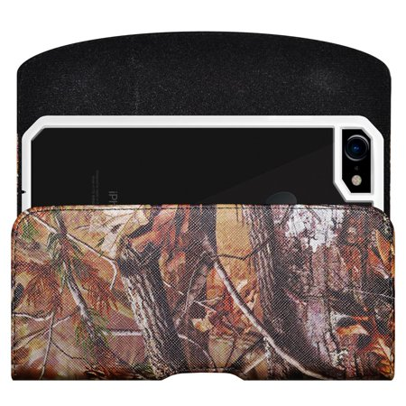 - Apple iPhone 5, 5S, SE Horizontal PU Leather Camo Rugged Heavy Duty Extended Holster Pouch Case with Belt Clip Fits Otterbox Commuter Defender UAG Ballistic Armor Dual Layer