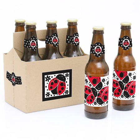 Happy Little Ladybug - Baby Shower or Birthday Party Decorations for Women and Men - 6 Beer Bottle Label Stickers and 1 - Little Canvas Carrier