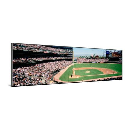 High Angle View of a Stadium, Pac Bell Stadium, San Francisco, California, USA Wood Mounted Print Wall Art