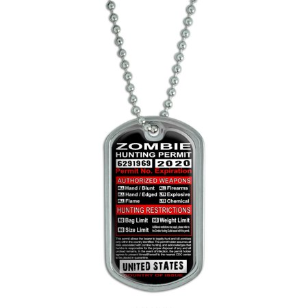 United States Zombie Hunting License Permit Dog Tag