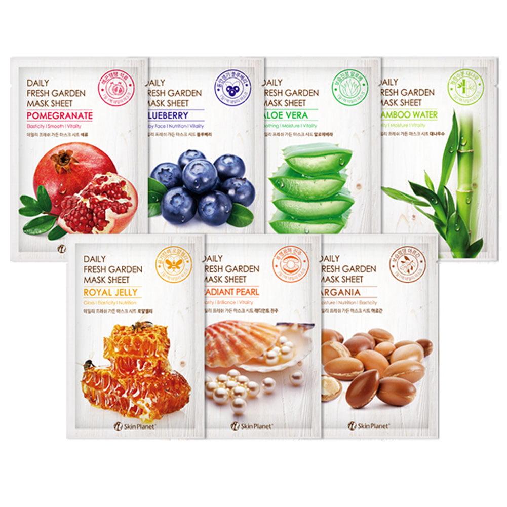 Pack of 7, The Elixir Beauty Skin Planet Daily Fresh Garden Mask Sheet Korea Beauty Facial Mask Pack