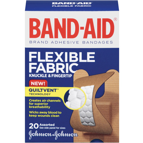 Band-Aid Brand Flexible Fabric Knuckle and Fingertip Adhesive Bandages, Assorted Sizes, 20 Count