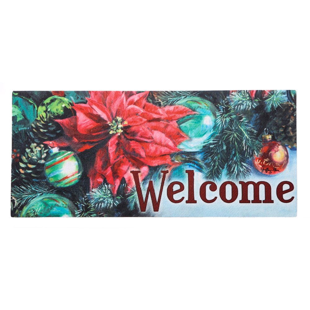 Poinsettia Reflections Sassafras Switch Mat, Welcome guests to your home with a seasonal doormat display! By Evergreen Enterprises from USA