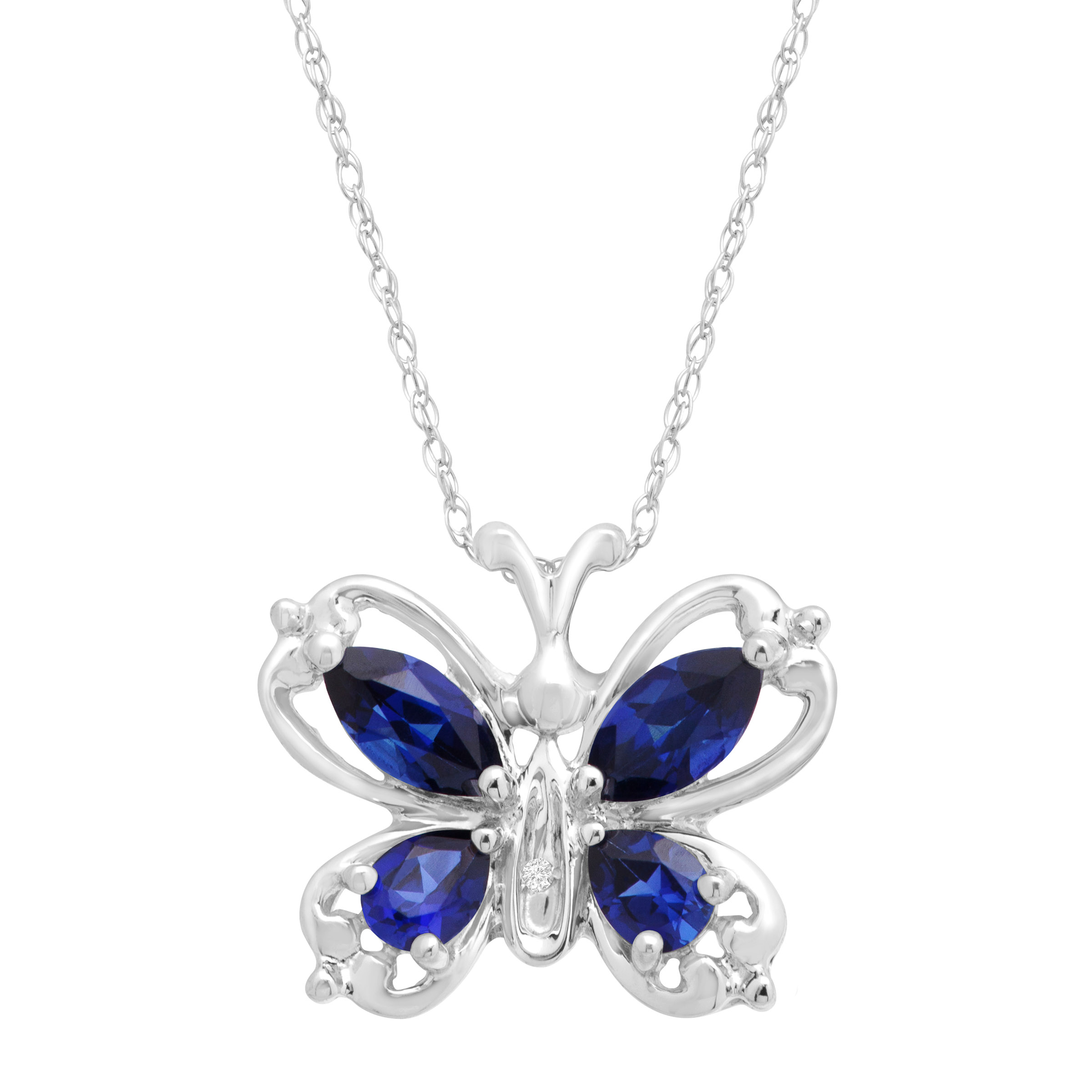1 ct Created Sapphire Butterfly Pendant Necklace with Diamond in 10kt White Gold by Richline Group