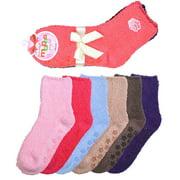 6 Pair of Women Plush Fuzzy Soft Cozy Slipper Socks Warm - Plain