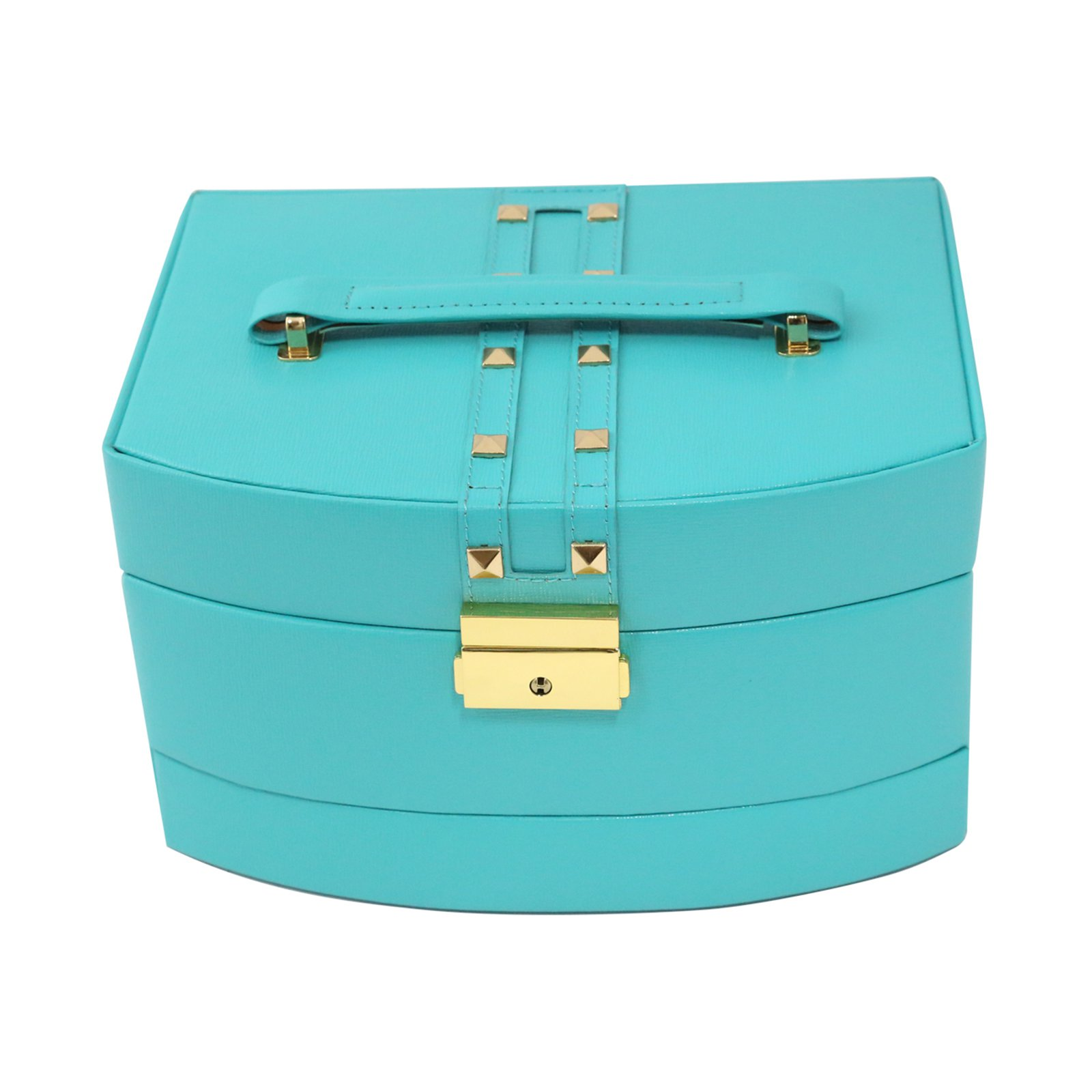 Bey Berk Leather with Studs 3-Level Travel Jewelry Box