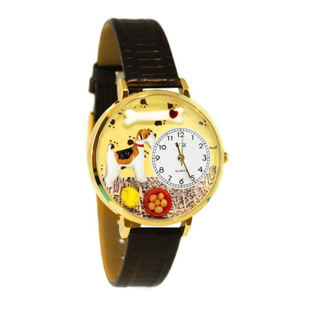 Whimsical Fox Terrier Black Skin Leather And Goldtone Watch