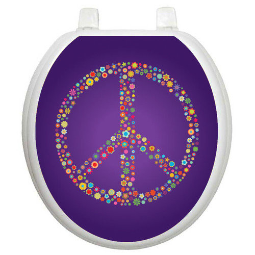 Toilet Tattoos Youth Purple Peace Toilet Seat Decal