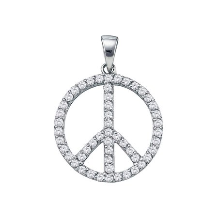 191b2492f811 BocaGold - 14kt White Gold Womens Round Diamond Peace Sign Circle Pendant  3 4 Cttw - Walmart.com