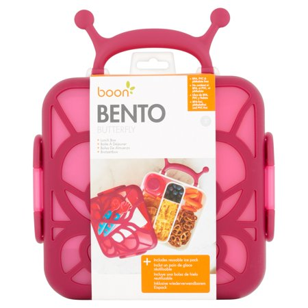 Boon Bento Butterfly Lunch Box, Bento Box Wih Ice Pack, Pink, 3+