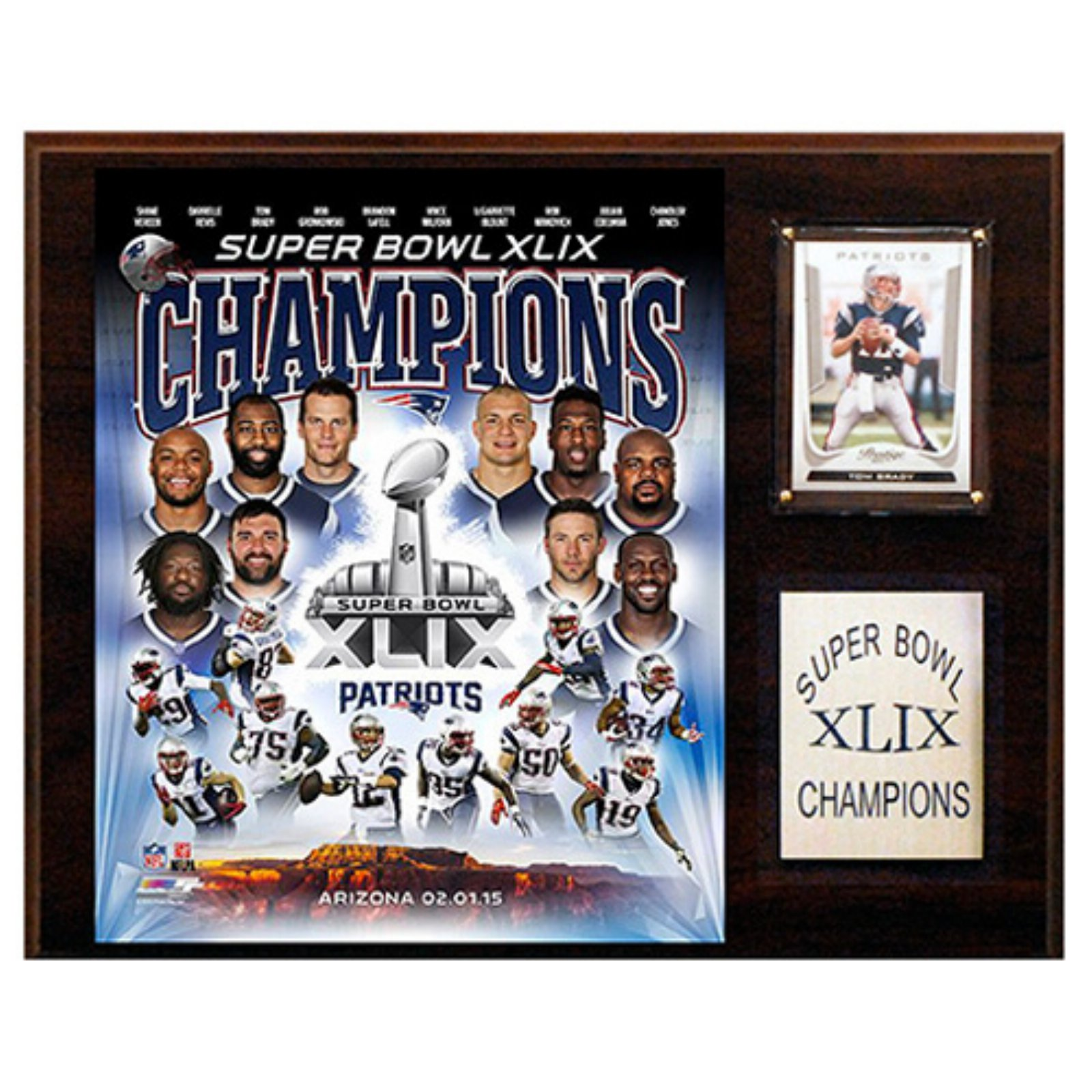 C and I Collectables NFL 15W x 12H in. New England Patriots Super Bowl XLIXI Champions Plaque