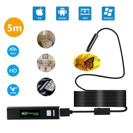 Inspection Snake (Wireless Endoscope, Endoscope Camera Wireless with WiFi Borescope Inspection Camera 2.0 Megapixels HD Snake Camera for iPhone IOS,Android,Smartphone and iPad (5M/16.4FT Cable))