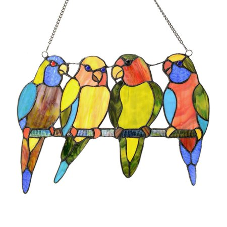 River of Goods Stained Glass Tropical Birds Window (Birds Stained Glass)